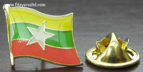 Myanmar Flag Lapel Hat Cap Tie Pin Badge Burma Naypyidaw Gift Souvenir - New